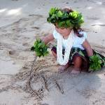 """Hula girl playing in the sand"" by elayne"