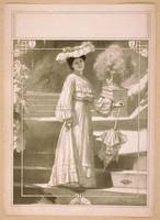Full length image of woman, standing on steps, wea