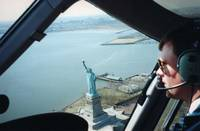 A bird's eye view of the Statue of Liberty