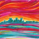 """Sunset City Skyline"" by ADrawingADay"