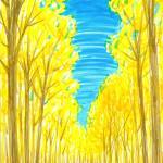 """Road Through Yellow Trees"" by ADrawingADay"