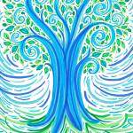 """BlueGreen Tree"" by ADrawingADay"