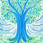 """BlueGreen Tree"" by ADrawingADay"