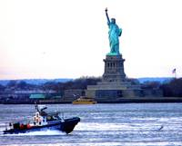 LADY LIBERTY AND POLICE BOAT