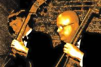 Double bassists in sepia