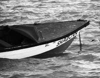 Blue Boat in Black & White