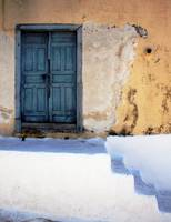 Blue Door With White Stairs