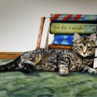 The Scholar ~ Kitten & Books Art Prints & Posters by Shari Nees