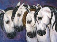 Horse Painting , Four Horses , Purple Haze