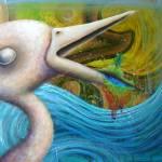"""bird eats landscape, pukes rainbow"" by friskeegallery"