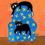 """two cats on blue chair-2"" by ChrisQIllustration"