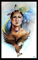Native woman with eagle