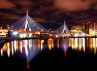 Zakim Bridge Night time in Boston