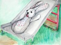 Sad Bunny on Slide