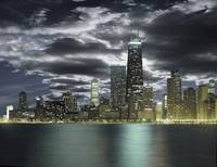 Chicago skyline with stormy sky viewed across lake