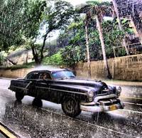 55 Oldsmobile Taxi In Rain