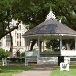 """Bandstand and Courthouse-Victoria, Texas"" by LindaWolff"