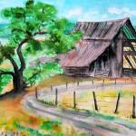 """Old Barn & OakTree"" by MannellGallery"