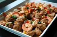 Italian styled Garlic Prawns with Spicy Sausages