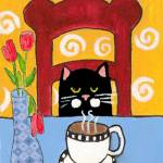 """Coffee Cat"" by ChrisQIllustration"