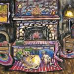 """Cats in front of fireplace"" by debbsmith"