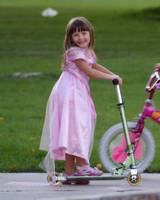 Princess on Scooter Wearing Tennies