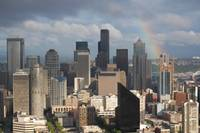 Seattle City Scape with rainbow