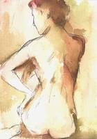 Rust and Gold Female Nude Study