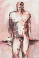 Red Male Nude Study