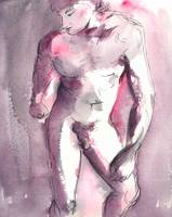 Pink and Purple Male Nude Study