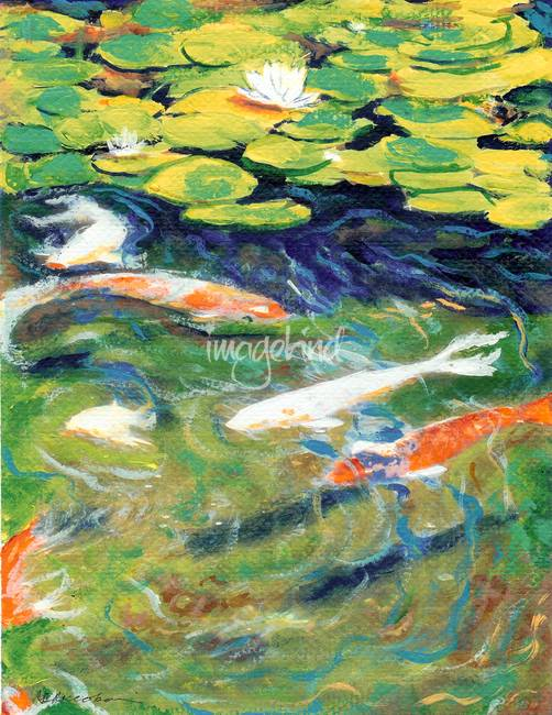 Stunning koi swimming artwork for sale on fine art prints for Koi prints for sale