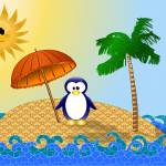 """A penguin on a beach"" by Shusik"