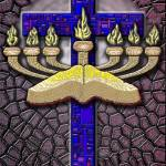 """Burgundy Menorah Cross and Word"" by DCLWolf"