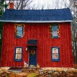 """Small Red House Impasto 11x14"" by PhotoArtbyDan"