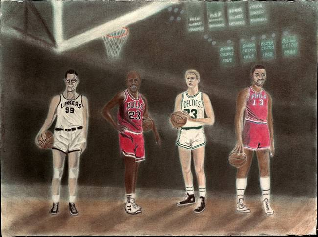 """Najarian Nba Youth Bedroom In A Box: Stunning """"Chamberlain"""" Pastel Painting Reproductions For"""