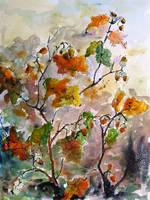 Acorns and Oak Leaves Watercolor & Ink Painting by