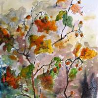 """Acorns and Oak Leaves Watercolor ; Ink Painting by"" by GinetteCallaway"