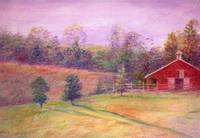 Fall landscape with Red Barn