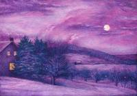 Snowy nocturne with full moon