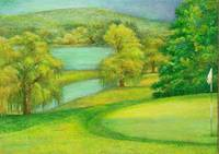 Illustrated golf course on lake