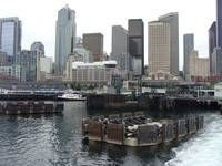 Ferry Boat Docking Area Downtown Seattle