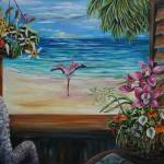 """Caribbean shutters with pink flamingo"" by artistamy"