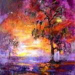 """Okefenokee Sunset Large Original Painting"" by GinetteCallaway"