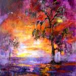 """Okefenokee Sunset Large Original Painting"" by GinetteCallaway"