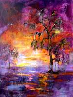 Okefenokee Sunset Large Original Painting