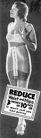 Reduce Waist and Hips, 1932 girdle ad