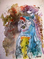 macaw parrot yupo painting