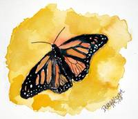 orange monarch butterfly watercolor painting
