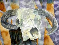 cow skull cowboy art original watercolor painting
