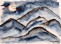 mountains at night painting